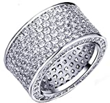 Beydodo Weiße Gold Vergoldet Damen Ringe (Ehering) Verlobungsring Intarsien Bling CZ Breite 12MM Unregelmäßige Einzigartige Form Größe 60 (19.1)