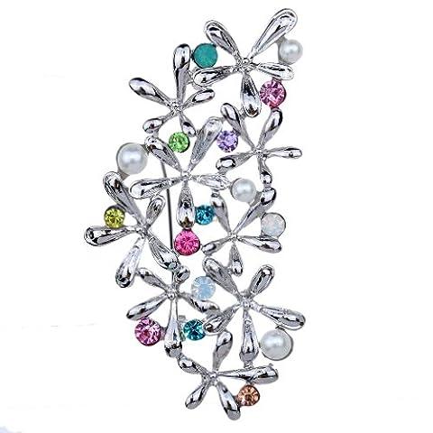 Yazilind vintage fleurs colorees en cristal d'argent plaque perle de