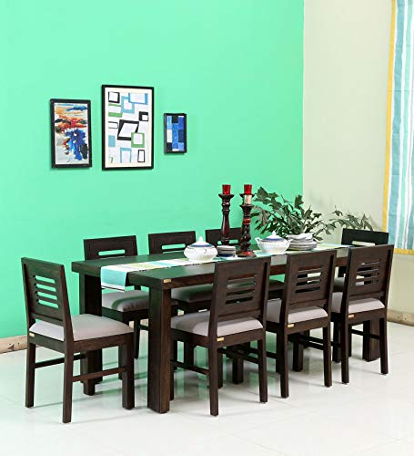 Corazzin Wood Sheesham Wood Wooden Dining Table Set with 8 Chairs | Home and Living Room | Chestnut Finish