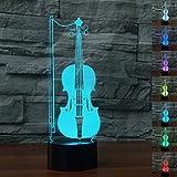 3D Nachtlicht,SUAVER 3D Illusion Lampe 7 Farben ändern USB LED Lampe und Tischlampe Touch Stimmungslichter Für Schlafzimmer Kinderzimmer (Geige)