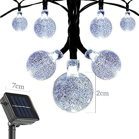Light-up 19.7ft Resistente al agua Luces 30 LED cristal bombillas LED, Lamparas solar, Decoración hogar para Jardín, Patio, Árboles Navideña, Boda, Fiestas y al aire
