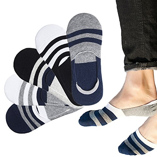 RedMaple 5 Paar Herren Füsslinge Baumwolle Unsichtbar Socken Atmungsaktiv Kurze Sneakersocken mit Rutschfestem Silkon