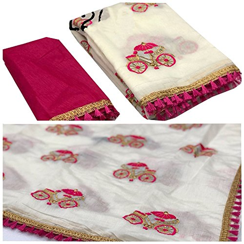 Orangesell Women\'s Summer Special Chanderi Cotton Embroidery work Saree With Blouse Piece