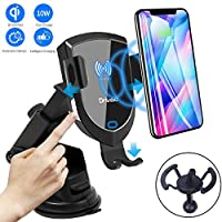 Drivaid QI Fast Wireless Car Charger, Infrared Inductive Auto-Clamping Air Vent Windshield Dashboard Phone Holder, 10W/7.5W Charger Mount Compatible with Galaxy S9/S9+/S8/S7, iPhone XR/XS/XS Max/X/8