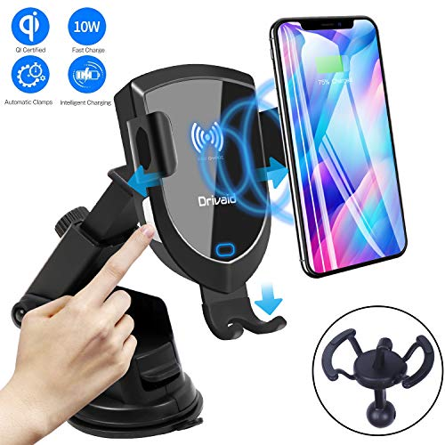 Drivaid Qi Ladestation Auto, Fast Wireless Charger Auto, Auto-Clamping 10W/7.5W Infrarot Induktive Qi Handy Lüftungs & Saugnapfshalterung, Kompatible für Galaxy S9/S9+/S8/S7, iPhone XR/XS/XS Max/X/8