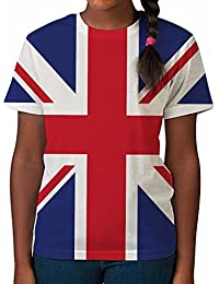 Bang Tidy Clothing Kid's T Shirt All Over Print Union Jack Flag Girls Summer Clothes Printed Top