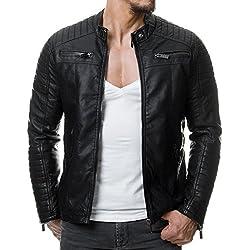 RedBridge M6013 Chaqueta de piel sintética para hombre, estilo motero, pespunteada negro S