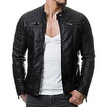 RedBridge M6013 Chaqueta de piel sintética para hombre, estilo motero, pespunteada