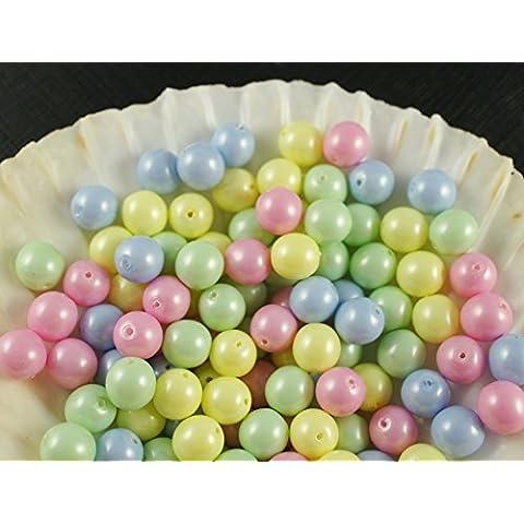 30pc Ceco Vetro Pressato Perle, Imitazione di perle, Tondo Diametro 8 mm, Colore: Baby Mix Pastel