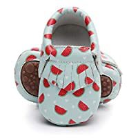 Bebila Cartoon Baby Moccasins - Vegan Baby Girls Boys Shoes with Rubber Sole for First Walker Toddler Mermaid Printing White Size: 3-4 Years Little Kid