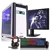 Komplett PC Set Gaming M25W, i7-9700K 8x3.6 GHz, 24 Zoll TFT, Maus Tastatur Headset, 16GB DDR4, 1TB HDD + 120GB SSD, GTX1070 8GB, Windows 10 Spiele Computer zusammengestellt in Deutschland Rechner