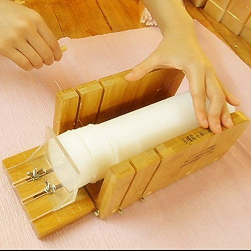 Vancgoods Multi-function Practical Adjustable Bamboo Soap Cutter Soap Making Tools with Soap Beveler Planer Set