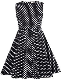 Kate Kasin Vestido Vintage Estampado de Niñas Años 50 para Fiesta Cóctel  Vestido Algodón de Verano sin… 1ccc3b91b7f8