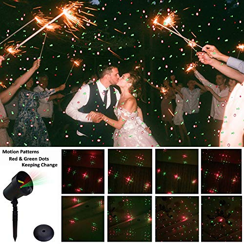 Saint-Valentin Projecteur Extérieur Lampe d'Ambiance Décorative LED avec Motif Dynamique Projecteur de Lumière Rouges et Verts Rotatives pour Saint Valentin/Anniversaire/Mariage/Soirée