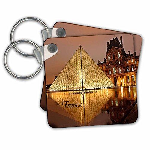 3dRose Bild von Paris Louvre Reflecting In Water Schlüsselanhänger, 6,4 cm, 2 Stück