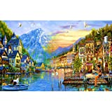 Image for board game Puzzle House Wooden Jigsaw Puzzle For Adults & Kids, Castle Town Of Alps, 500/1000/1500 Pieces Box Puzzles Game Challenge 504 (Size : 1500pc)