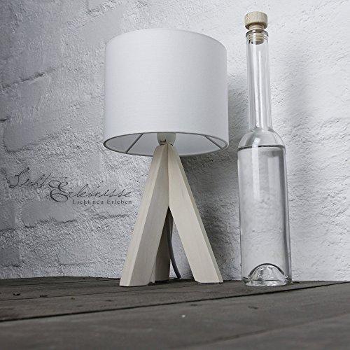 Bauhaus Stil Tischleuchte mit Holzfuß und weißem Stoffschirm E14 mit Kabelschalter Nachttischlampe...