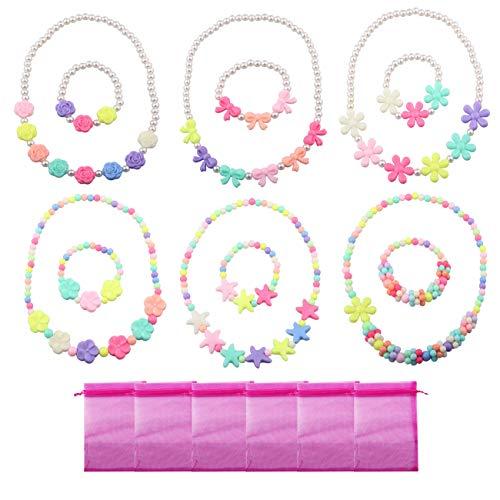 (Candygirl Baby Mädchen Party Favor Schmuck Kollektionen der Halskette und Armband 6Sets pro Pack Kostüm Schmuck Kleinkinder Kinder Kleid bis)