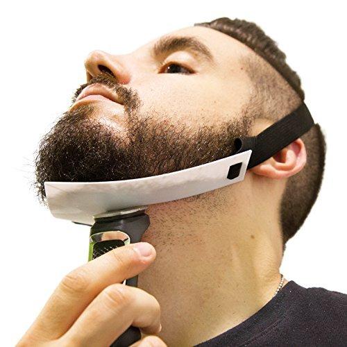 Aberlite Bartformer - Flex-Schablone für Halsrasur - Freihändig & Anpassungsfähig - Die Ultimative Trimm-Schablone für die Halslinie (Patent angemeldet) (Weiß) - Bart-Trimmer - Bart-Schablone - Edelstahl Haar Shaper