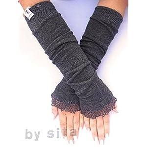 Armstulpen, lang – dunkelgrau, meliert mit Wollrüsche