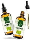 WoldoHealth I Arganöl Bio kaltgepresst 2 x 100ml I Vegan I Argan Öl Serum für Anti-Aging I 100% aus Marokko I Gesichtspflege & Körper Öl