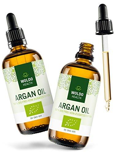 WoldoHealth I Bio Arganöl aus Marokko I 100% rein kaltgepresst I 2x 100ml I Vegan I Anti-Aging Serum Gesicht