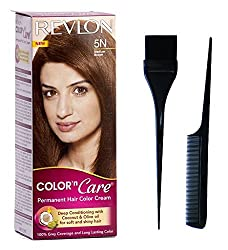 Revlon color n care Medium Brown 5N with Dye brush and comb