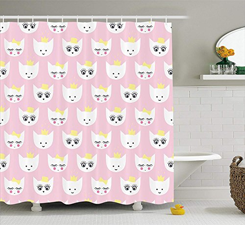 BUZRL Cat Shower Curtain by, Princess Kitty Baby Girlish Trendy Pattern with Crown and Hat Teenage Art Print, Fabric Bathroom Decor Set with Hooks, 60x72 inches, Light Pink White -