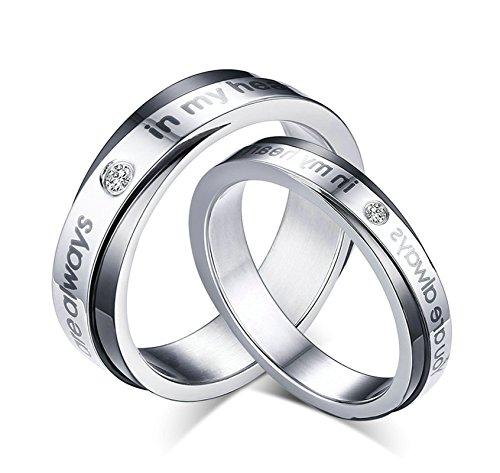 Jiedeng Schmuck Unisex Ringe aus Edelstahl Ring mit CZ