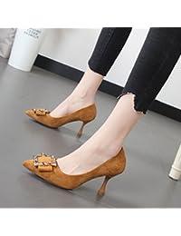 Xue Qiqi 7cm pointe fine exposés rivets chaussures à talons hauts, Sandales femme tirant à fente vide,38, noir
