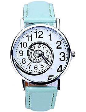Sannysis Frauen-Strudel-Muster PU-Leder Analog Quarz-Armbanduhr