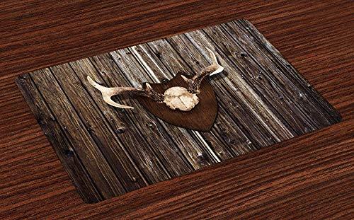Soefipok Geweih Tischsets, rustikale Home Cottage Kabine Wand mit Geweih Jagd Lodge Country House Trophy Print, waschbare Stoff Tischsets für Esszimmer Küchentisch Dekoration , 4er Set -