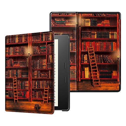 CASEBOT Hülle kompatibel für Kindle Oasis 10. Generation (2019 Modell) und 9. Generation (2017 Modell) - Slim Lightweight Schutzhülle mit Auto Sleep/Wake Funktion, die Bibliothek -