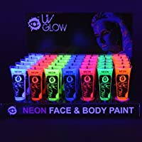 UV Glow Neon Face and Body Paint 10ml - Pack of 24 Tubes - All Colours Fluorescent