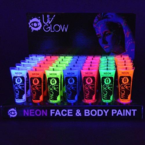 UV Glow Lot de 24 tubes de peinture fluorescente pour le visage et le corps 24 x 10 ml