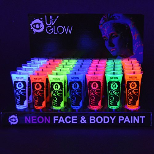 24 x 10ml UV-Bodypaint Körpermalfarben Schwarzlicht fluoreszierende Schminke Bodypainting Neon Farben Leuchtfarben