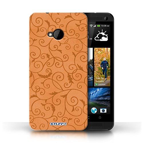 Kobalt® Imprimé Etui / Coque pour HTC One/1 M7 / Turquoise conception / Série Motif de la vigne Orange