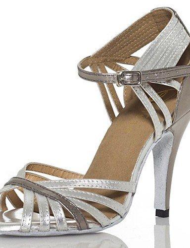ShangYi Chaussures de danse(Noir / Argent) -Personnalisables-Talon Personnalisé-Similicuir-Latine / Jazz / Chaussures de Swing / Salsa / Samba Silver