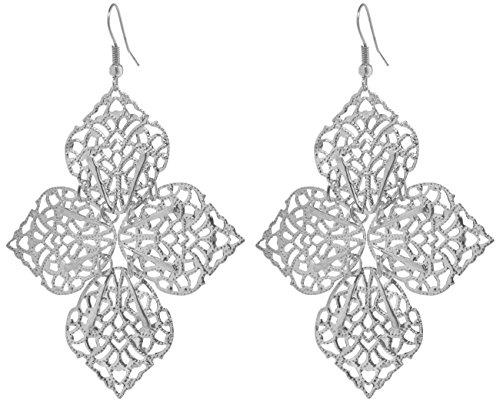 2LIVEfor Statement orecchini pendenti grandi orecchini argento anticato foglia orecchini pendenti Vintage Bohemian Orecchini