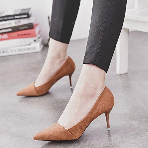 Damen Pumps Spitze Slip On Kurzschaft Stilettos Modische Sandale Gelb