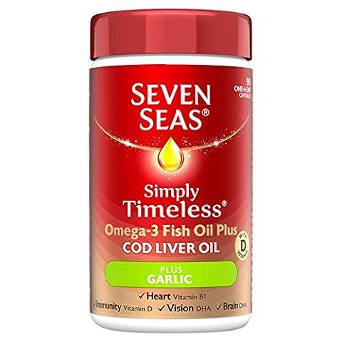Seven Seas One-A-Day Pure Cod Liver Oil Plus Garlic Capsules x90