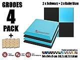 Super Dash 4 Stück Schwarz und Baby Blau 50 x 50 x 5 cm Akustische Schalldämmung Flache Bevel Foam Studio Behandlung Wandfliesen SD1039