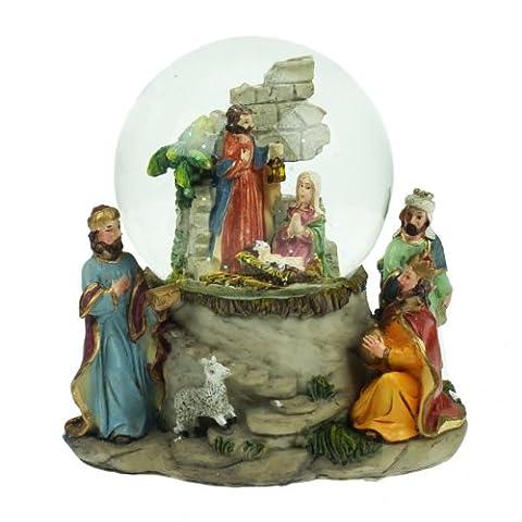 Große Schneekugel mit Figuren aus der Weihnachtskrippe (20 cm); mit Weihnachtslied