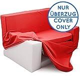 Wechselbezug für 2 in 1 Kindersofa mit Bettfunktion in Feuerrot - Weich & Sicher Auffalt Matratze für Kinder von 1 - 4 - TV Kindercouch Sessel Schaumstoff Stuhl Möbel Ausziehbett zum Schlafen
