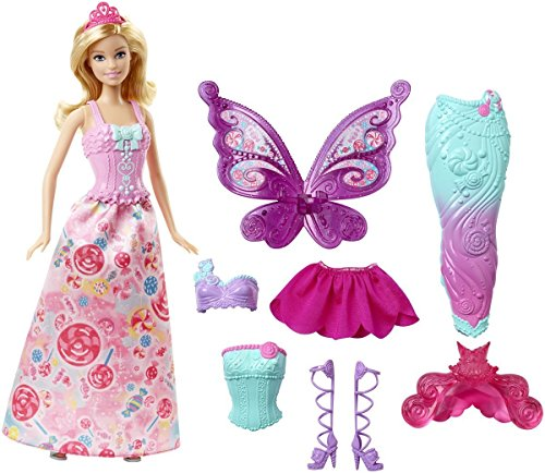Poupée Barbie - Collection Féérie - 3 en 1 - Princesse, Sirène, Fée