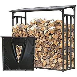 QUICK STAR Support de Bois de Chauffage 143x70x145cm avec Protection Contre Les intempéries