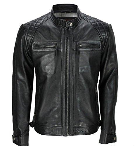 Herren Schwarz Retro gesteppte Echt Nappa Bikerjacke aus Leder L