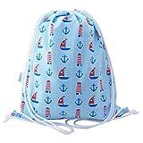 Drawstring Swimming Bag Drawstring Backpack Gym Bag PE Bag Boys Girls Toddlers - Boats - Lootybag - amazon.co.uk