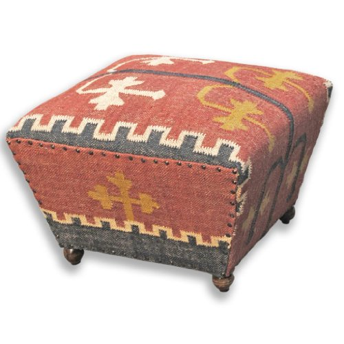 Homescapes Upholstered Ottoman Tapered Seat Coffee Table or Footstool with Legs Kilim Red Handmade Solid Wood Frame with Traditional Hand woven Wool Rug Cover