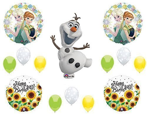 FROZEN FEVER SUNFLOWERS Olaf Happy Birthday Balloons Decoration Supplies Summer Elsa Anna by Anagram by Anagram (Olaf Birthday Happy)